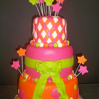 "Colorful Pink, Orange And Lime Green 13Th Birthday Cake Colorful 13th Birthday pink, lime green and orange 3 tiered (8"", 6"", 4"") round cake decorated with diamonds, polka dots and..."