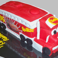 "Mack Truck From Cars Mack Truck from movie Cars. Used a sheet cake pan, cut in half and stacked three layers for the trailer. Tractor was made out of 6""..."