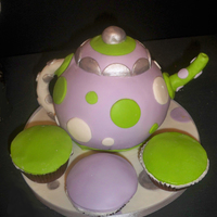 Tea Party Tea Pot Cake Tea Party Tea Pot Cake. My first tea pot cake. Made using Ball cake pan covered in fondant. Silver luster dust for accents. This was a last...