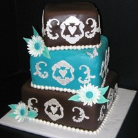Brown And Turquoise   Brown and Tuquoise wedding cake