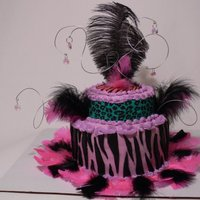 Feather Cake Strawberry vanilla swirl, buttercream MMF fondant.Duff stuff,