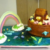 Noah's Ark fondant ark, modeling chocolate animals