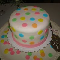 Baby Shower Cake 6 inch fondant covered cake for a small baby shower. Dots also fondant