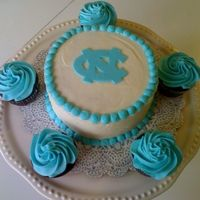 Unc Birthday Cake And Cupcakes 6 inch buttercream cake with fondant decorations. Go Heels!