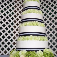 Garden Wedding This 5 tiered wedding cake is adorned with roses, carnations, and hydrangeas all in shades of green.