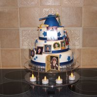 Highschool Graduation Made for grandson's graduation. Carrot cake with cream cheese filling, fondant covered. Used birth picture and school pictures k-12th...