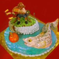 "Fishing At 50 This was for my brother's 50th birthday. He belongs to a fishing group called ""Team Apple"" (the reason for the apple). The..."