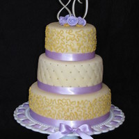 80Th Birthday Cake  The request was to incorporate purple and gold in a classy way. This is what I came up with. The sizes are 6', 8' & 10'...
