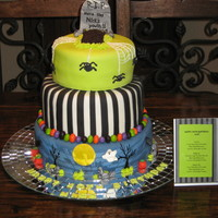 "40Th Birthday Halloween Cake 8"", 10"" and 12"" tiers covered in mmf. Decorations are made out of mmf and gumpaste. TFL!"