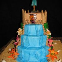 Luau Birthday  This cake was made for a surprise luau birthday. The cake is covered in fondant and all decorations are fondant except the flowers which...