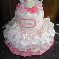Tutu Ruffle Birthday Cake This was my daughter's birthday cake. She's a very girlie girl so her cake had to be pink and frilly. All of the ruffles and bows...