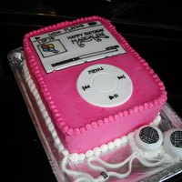 Mp3 Player Cake This is an Mp3 player cake I made for a teenager's birthday. I stacked and filled 2 or 3 9x13 cakes, iced them in whipped cream and...