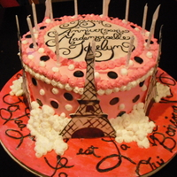 Paris Themed Birthday Cake This was a cake made for a Paris themed party. The Birthday Girls' favorite colors are hot pink, black and white, so I went with it....