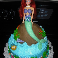Little Mermaid Doll Cake This is a Little Mermaid cake I did for a birthday. Marble cake with vanilla cream filling, buttercream icing and fondant decorations.
