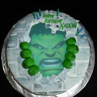 Hulk Cake Birthday Cake for an Incredible Hulk themed birthday. This was the first time I used edible paper...not sure if I will use it again, but I...