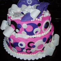 Pink And Purple Purse And Shoe Cake This was a cake I made for a purse and shoe fanatic. I was given the directions to make it pink and purple with back and white accents and...