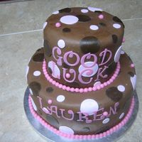 Brown & Pink Polka Dot Cake