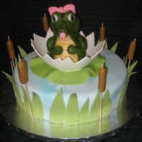 Baby Gator Cake The baby gator was sculpted out of rice crispy treats then covered in modeling chocolate. The egg, lilly pad, grass, and cattails are made...
