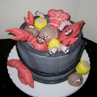 "Seafood Fest! 10"" Round cake with RKT critters covered in 50/50. Thanks for looking!"
