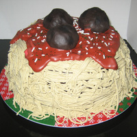 Spaghetti And Meatball Cake Had a lot of fun making this for my husband's birthday. Used my pasta roller to make the spaghetti out of fondant. Meatballs are rice...