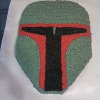 Boba Fett  this was my first star wars cake i did and i scultpted the cake myself. its all vanilla cake and all icing is BC with all diff size starr...