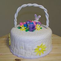 Easter/spring Birthday Cake WASC cake covered in BC & MMF for my grandma's birthday. First flowers, first time using my basket weave rolling pin & first...