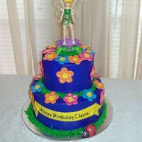 Tinkerbell Cake Butter cream with fondant flowers and lady bug