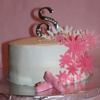 Ballet Recital Cake Vanilla butter poundcake with creamcheese butter cream and strawberry filling. gumpaste flowers.