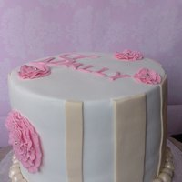 Pink And Ivory   pink and ivory bday cake with sugar paste flowers