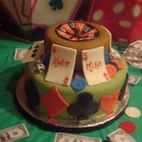 Bride And Groom Casino Cake vanilla cake with buttercream frosting and filling. everything is fondant. the dice are sugar cubes with dots of black icing. they were...