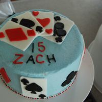 Card Cake I made this cake for my nephew. Everytime I turn around this kid is flipping out a card trick and it is crazy. I'm standing there...