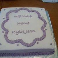 Kylie's Cake Made this cake for my brother & sister in law when they brought home my new niece, Kylie Jean. Got the idea from a cake by Edibleart.