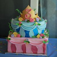 "Evangeline's 3Rd Birthday Cake Designed this cake to my 3 year old daughter's specifications for her ""Make it Pink, Make it Blue"" party: an Aurora crown on..."