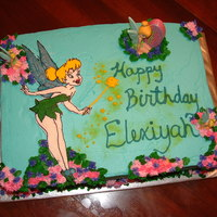 Tinkerbell, Frozen Buttercream Transfer one of my first times using the technique to transfer... turned out good other than the red on the lips bleed.