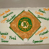 Team Cake A's End of the season cake for my son's team. The Oakland A's was thier team, but Rudy is where they played at.