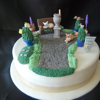 "Garden Themed Cake Design is based on the Birthday girls ""formal garden""Thanks for looking..."