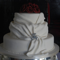 "Wedding Cake At Kinnity Castle 14"" + 10"" + 8"" round cake with handmade gumpaste roses."