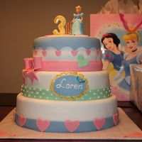 "Cinderella Birthday Cake After taking a three year break it was time to make another cake. My daughter had a Cinderella themed party. It was a 12"", 10""..."