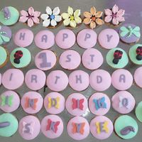 Garden Party 1St Birthday Cupcakes!  (Sorry first attempt at loading I put the wrong photo up!) 48 cupcakes with bees, ladybeetles, snails, butterflies, dragonflies and flowers...