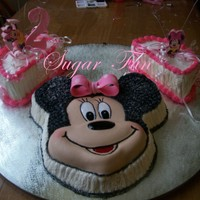 Arielle Torres 2Nd Birthday Latin cake and Butter cream icing. Minnie mouse face are gum paste. Foam and others decoration. Thank for looking.Cake Latino y BC icing....