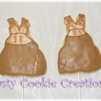 Bridesmaid Dress Decorated w/RI and luster dust. I did my best to duplicate the actual bridesmaid dress into a cookie.