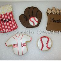Baseball Game Cookies Decorated in RI. I created these for a gift basket company for their Bostonian Gift Basket.