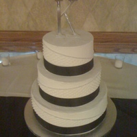 3 Tiered Round Wedding Cake White Cake, buttercream, initials