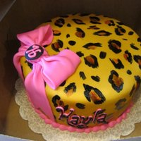"Leopard Print Cake   8"" cake covered in fondant. airbrushed. hand painted leopard spots."