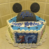 "Hand Painted Mickey Cake  this cake was used for a little boy whose mother was surprising him with a trip to disney. 9"" hexagon cake, with hand painted disney..."