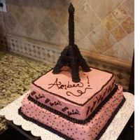 Ooh La La Paris Cake This was done for a friend's niece. The Tower is made of fondant & wire. Cake is Chocolate with BC Frosting. The frosting didnt...