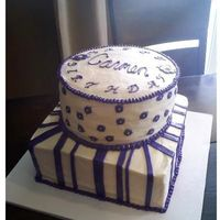 First Large Stacked, Flat Frosted Cake I did this for a neighboor for their Mom's 59th bday. I wasnt as happy with it as I would have liked to of been, but they really liked...