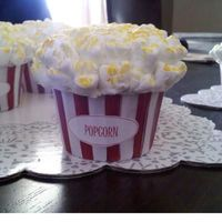 Popcorn Cupcakes   These were ALOT of work, but well worth it. My nephew had his party at the Movie Theatre so these were perfect.