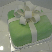 Birthday Cake marbled green and white fondant. 8 inch.