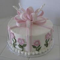 Pink Flowers Cake 10 inch, buttercream and fondant.